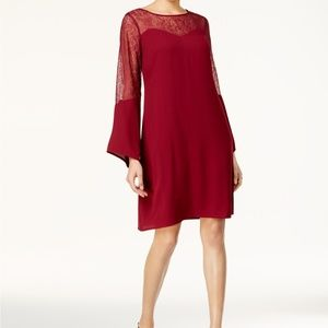 Thalia Sodi Lace Illusion Shift Dress Burgandy